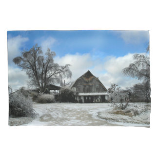 Icy Rustic Barn in Winter Pillow Case