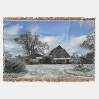Icy Rustic Winery Throw Blanket