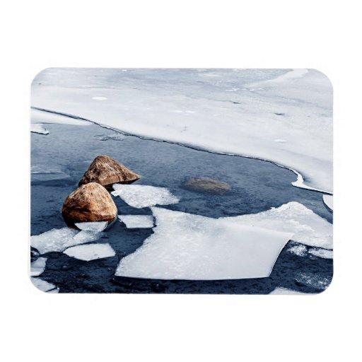 Icy shore in winter rectangular magnet