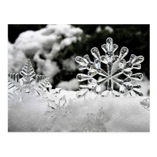 Icy snow ice snowflake christmas postcard