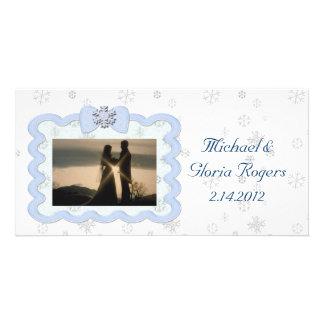 Icy Snowflake Celebration Custom Photo Card