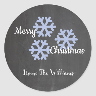 Icy Snowflakes Chalkboard Classic Round Sticker