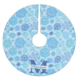 Icy Watercolor Snowflakes with Monogram and Name Brushed Polyester Tree Skirt