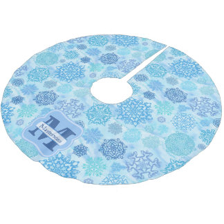 Icy Watercolor Snowflakes with Name and Monogram Brushed Polyester Tree Skirt