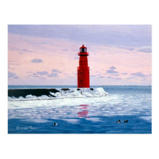 Icy Waters Lighthouse Postcard