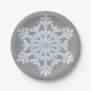 Icy White Frozen Snowflake Elegant Grey Christmas Paper Plate  sc 1 st  Zazzle & Woodland Christmas Plates | Zazzle.com.au