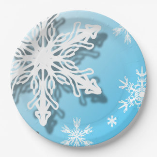 """Icy Winter Snowflakes 9"""" Paper Plate"""