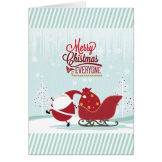 Icy Wonderland Santa And Sleigh Greeting Card