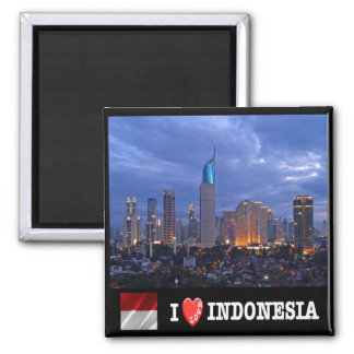 ID - Indonesia - Jakarta Skyline I Love - Collage Square Magnet