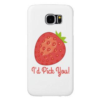 """I'd Pick You"" Strawberry Samsung Galaxy S6 Case"