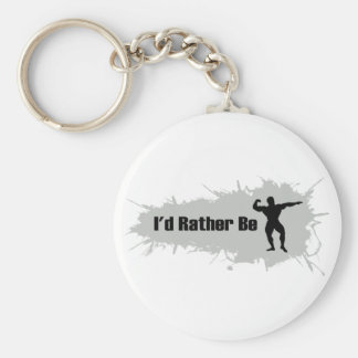 I'd Rather Be Bodybuilding Basic Round Button Key Ring