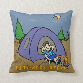 I'd Rather Be Camping - Camp Scene American MoJo T Pillow
