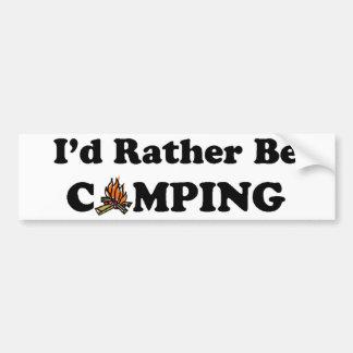 I'd Rather Be Camping Campfire Bumper Sticker