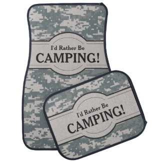 I'd Rather Be (Camping) Digital Camo Personalised Car Mat