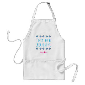 I'd rather be crocheting, personalizable name standard apron
