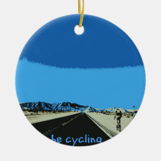 id rather be cycling ceramic ornament