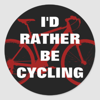I'd rather be cycling classic round sticker