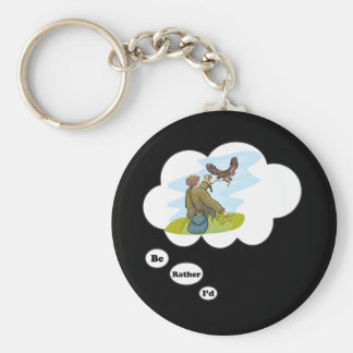 I'd rather be Falconing Basic Round Button Key Ring