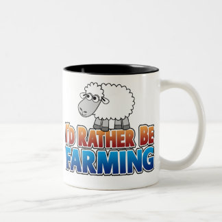 I'd Rather be Farming! (Virtual Farming) Two-Tone Coffee Mug