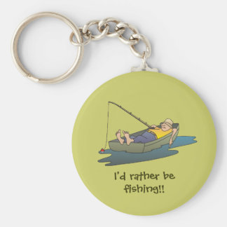 I'd rather be fishing - lazy boat day key ring