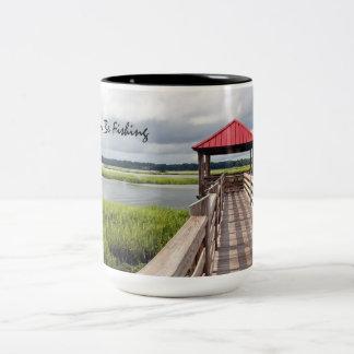 I'd rather be fishing two-tone 15 oz coffee mug