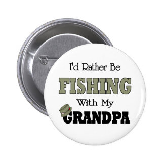 I'd Rather Be Fishing  with Grandpa 6 Cm Round Badge