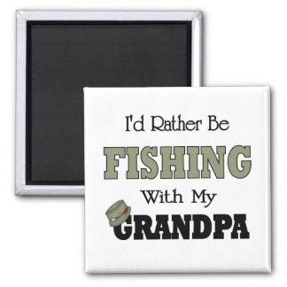 I'd Rather Be Fishing  with Grandpa Fridge Magnet