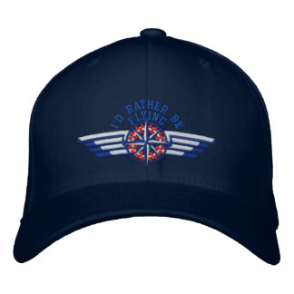 I'd rather be flying Star Compass Pilot Wings Embroidered Baseball Caps