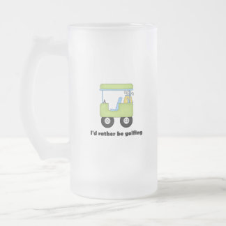 I'd rather be golfing frosted glass mug
