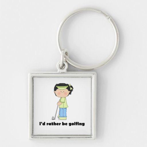I'd rather be golfing keychain