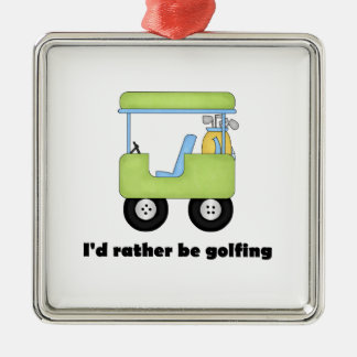 I'd rather be golfing Silver-Colored square decoration