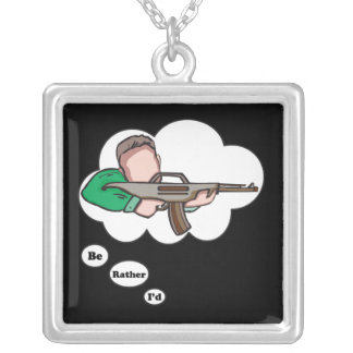 I'd rather be Hunting 8 Silver Plated Necklace