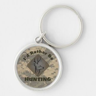 I'd Rather Be Hunting Deer Hunter Silver-Colored Round Key Ring