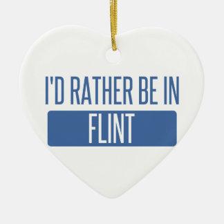I'd rather be in Flint Ceramic Heart Decoration