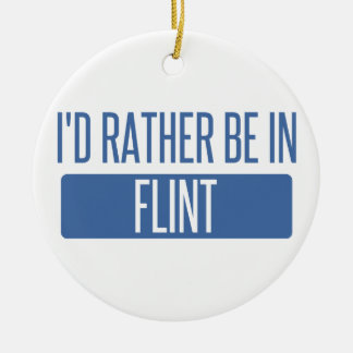 I'd rather be in Flint Round Ceramic Decoration