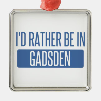 I'd rather be in Gadsden Silver-Colored Square Decoration
