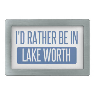 I'd rather be in Lake Worth Rectangular Belt Buckle