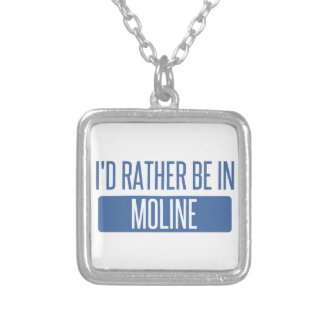 I'd rather be in Moline Silver Plated Necklace