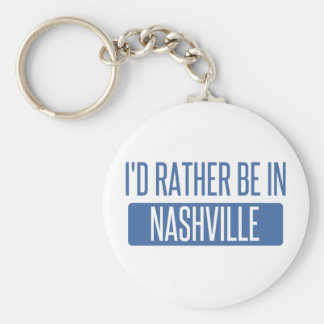 I'd rather be in Nashville Basic Round Button Key Ring