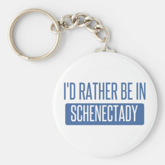 I'd rather be in Schenectady Basic Round Button Key Ring