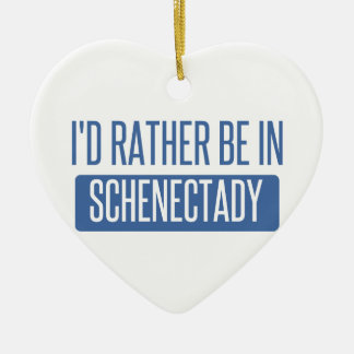 I'd rather be in Schenectady Ceramic Heart Decoration