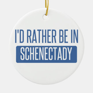 I'd rather be in Schenectady Round Ceramic Decoration