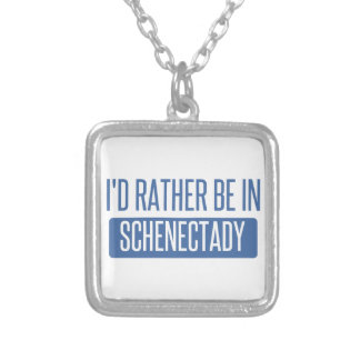 I'd rather be in Schenectady Silver Plated Necklace