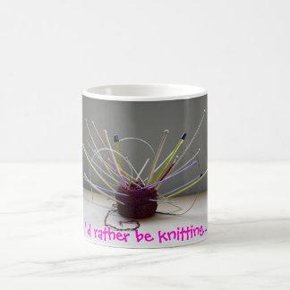 I'd rather be knitting... basic white mug