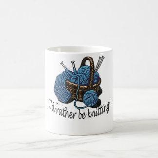 I'd rather be knitting! basic white mug