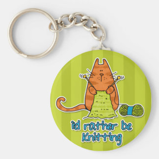i'd rather be knitting key ring