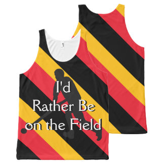 I'd Rather Be on the Field (Hockey) Black Red Gold All-Over Print Singlet