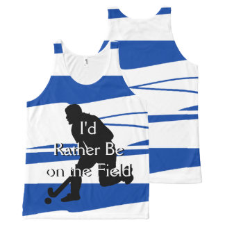 I'd Rather Be on the Field (Hockey) F Blue & White All-Over Print Tank Top