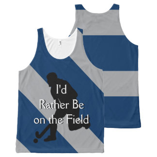 I'd Rather Be on the Field (Hockey) F Navy & Gray All-Over Print Tank Top