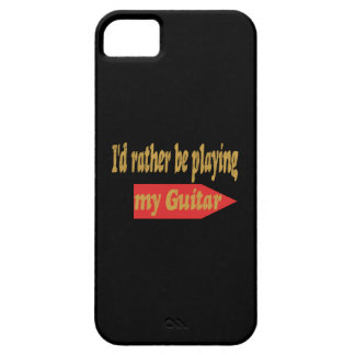 I'd Rather Be Playing My Guitar - Black background Case For The iPhone 5